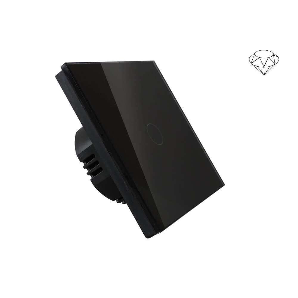 Wyłącznik światła dotykowy jednoobwodowy, jeden przycisk, na jedną puszkę, czarny