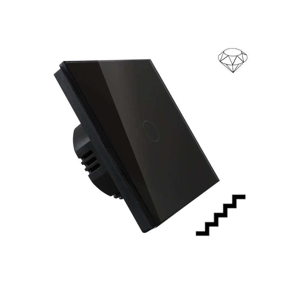 Szklany wyłącznik światła dotykowy jednoobwodowy, dwubiegunowy, krzyżowo-schodowy, jeden przycisk, na jedną puszkę, czarny
