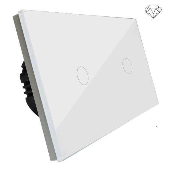 Szklany wyłącznik światła dotykowy dwuobwodowy, dwa przyciski, na dwie puszki, biały