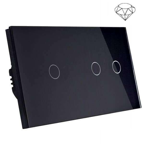 Szklany wyłącznik światła dotykowy dwuobwodowy, schodowy pojedynczy i podwójny jednokierunkowy, trzy przyciski, na dwie puszki, czarny