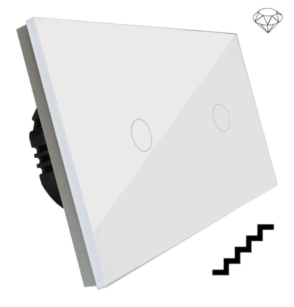 Szklany wyłącznik światła dotykowy dwuobwodowy, schodowy pojedynczy i pojedynczy jednokierunkowy, dwa przyciski, na dwie puszki, biały