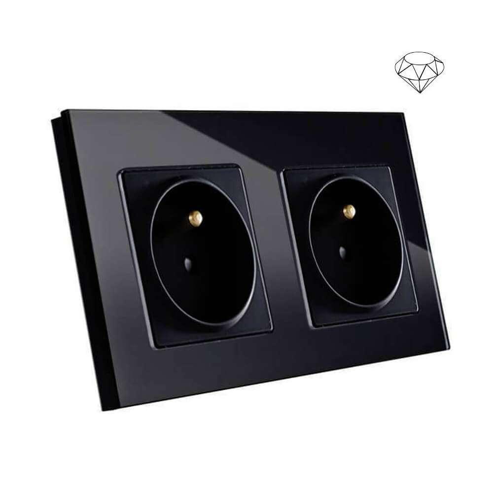Szklane gniazdo podwójne w szklanej ramce, dwie puszki, czarny