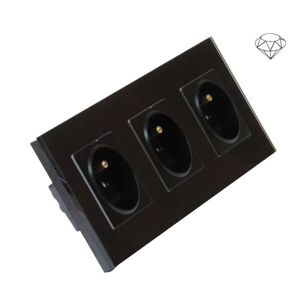 Szklane gniazdo potrójne w szklanej ramce, trzy puszki, czarny