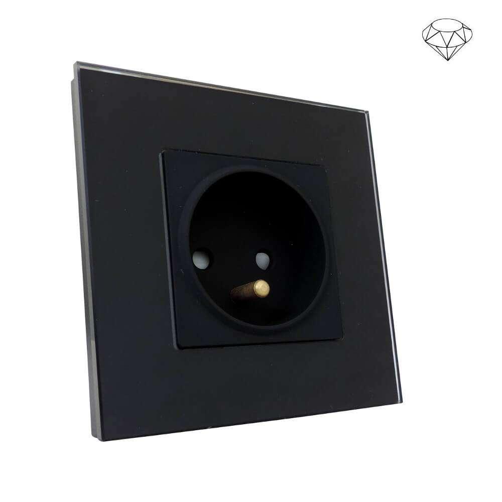 Szklane gniazdo pojedyncze szklanej ramce, czarny