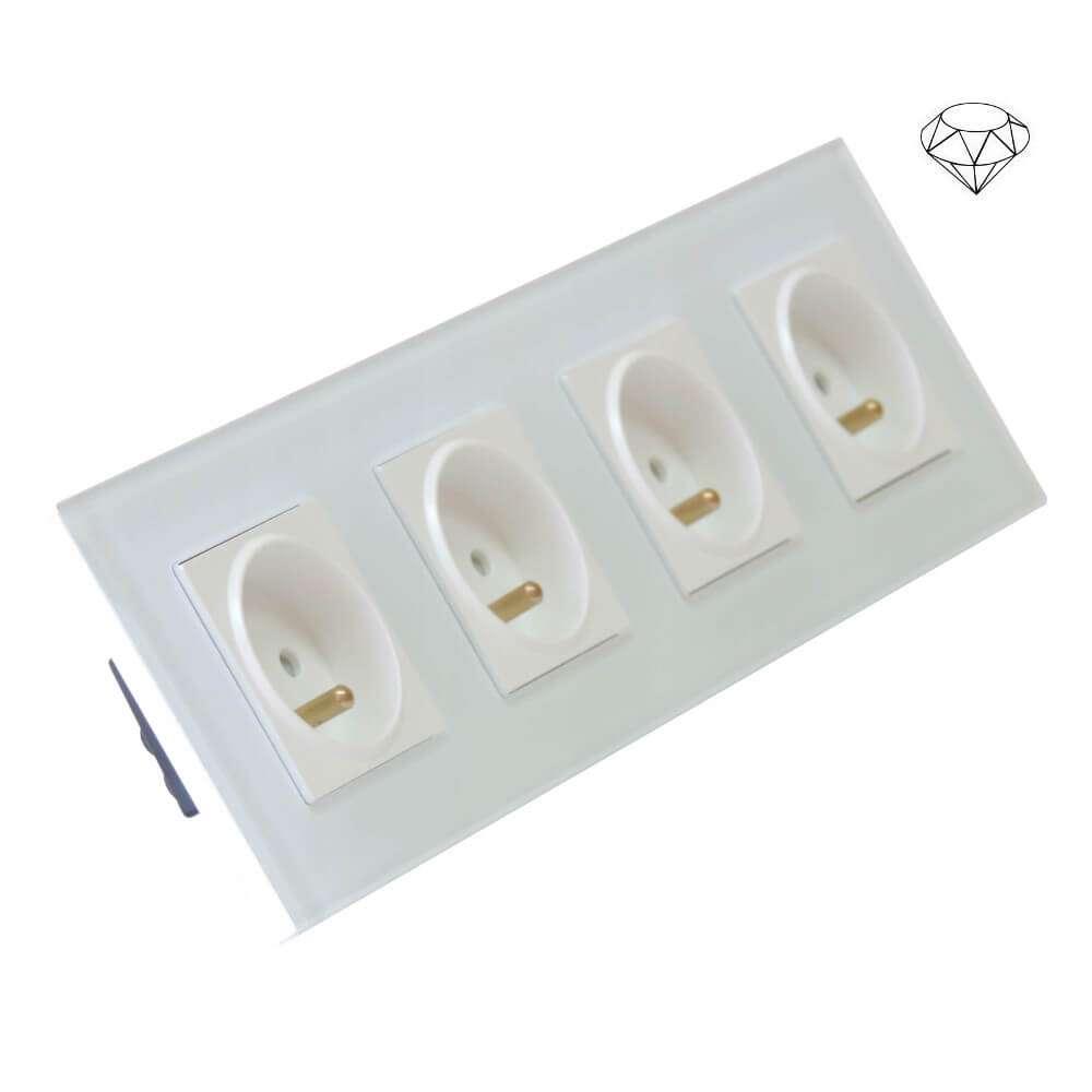Szklane gniazdo poczwórne szklanej ramce, cztery puszki, biały