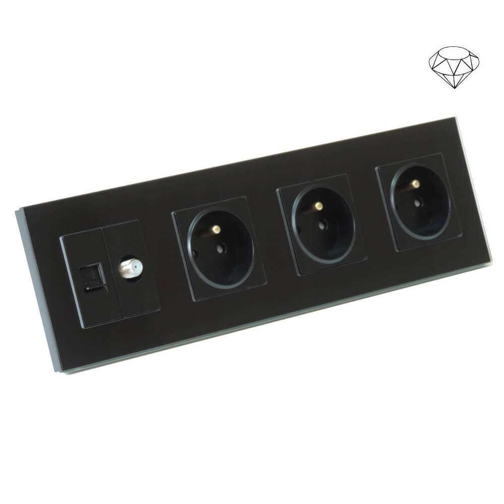 Szklane gniazdo poczwórne w szklanej ramce, SAT i LAN, cztery puszki, czarny