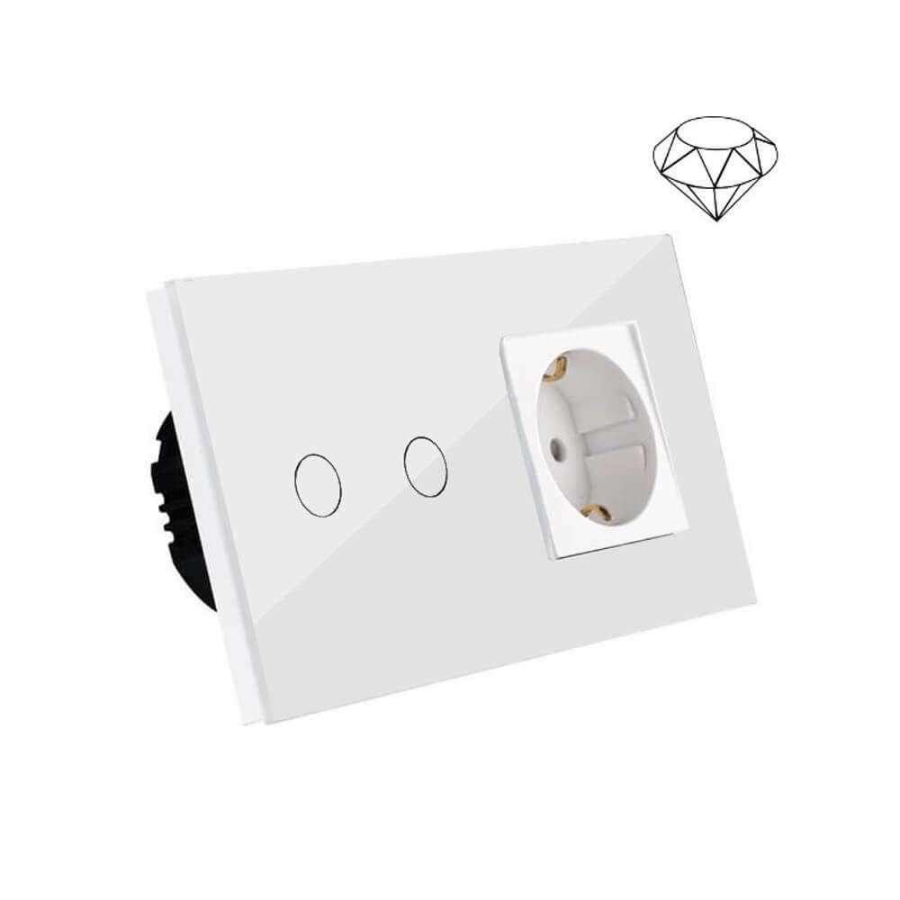 Szklany wyłącznik światła dotykowy łazienkowy podwójny, dwa przyciski, na dwie puszki, biały