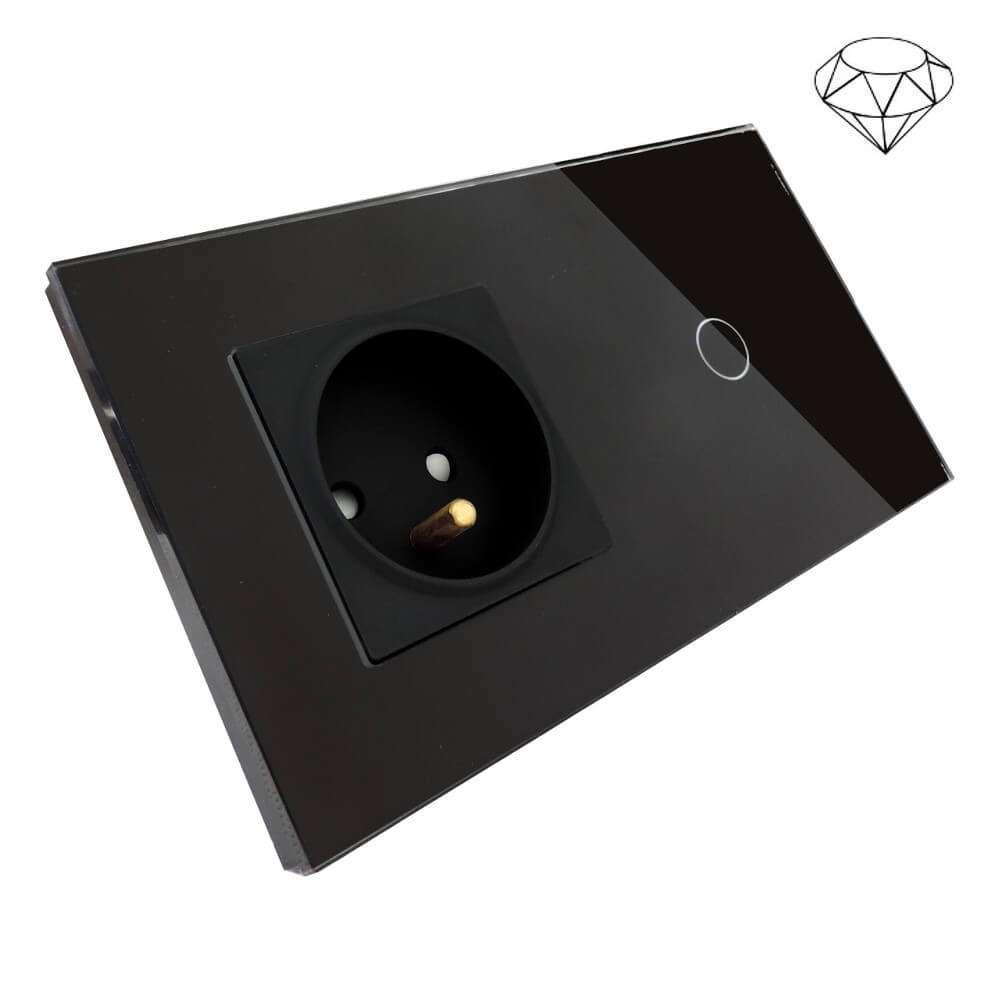 Wyłącznik światła dotykowy łazienkowy pojedynczy, dwie puszki, czarny