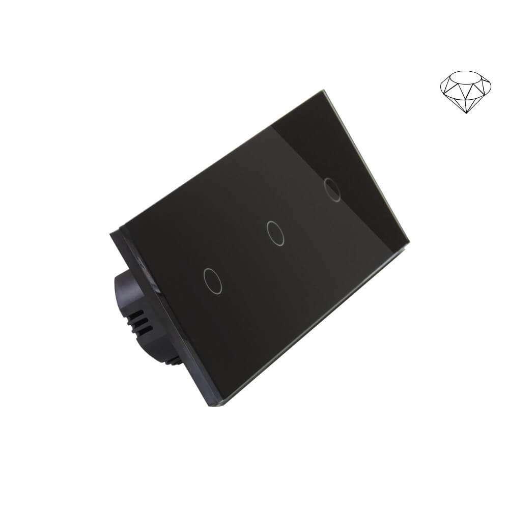 Szklany wyłącznik światła dotykowy trzyobwodowy, trzy przyciski, na trzy puszki, czarny