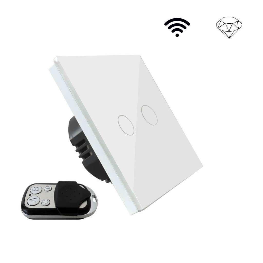 Szklany wyłącznik światła dotykowy jednoobwodowy dwa przyciski, na jedną puszkę, biały, sterowany pilotem