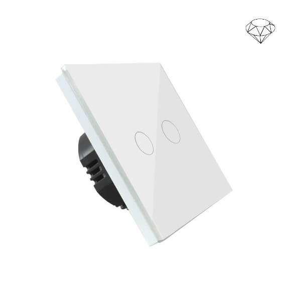 Szklany wyłącznik światła dotykowy jednoobwodowy, dwa przyciski, na jedną puszkę, biały