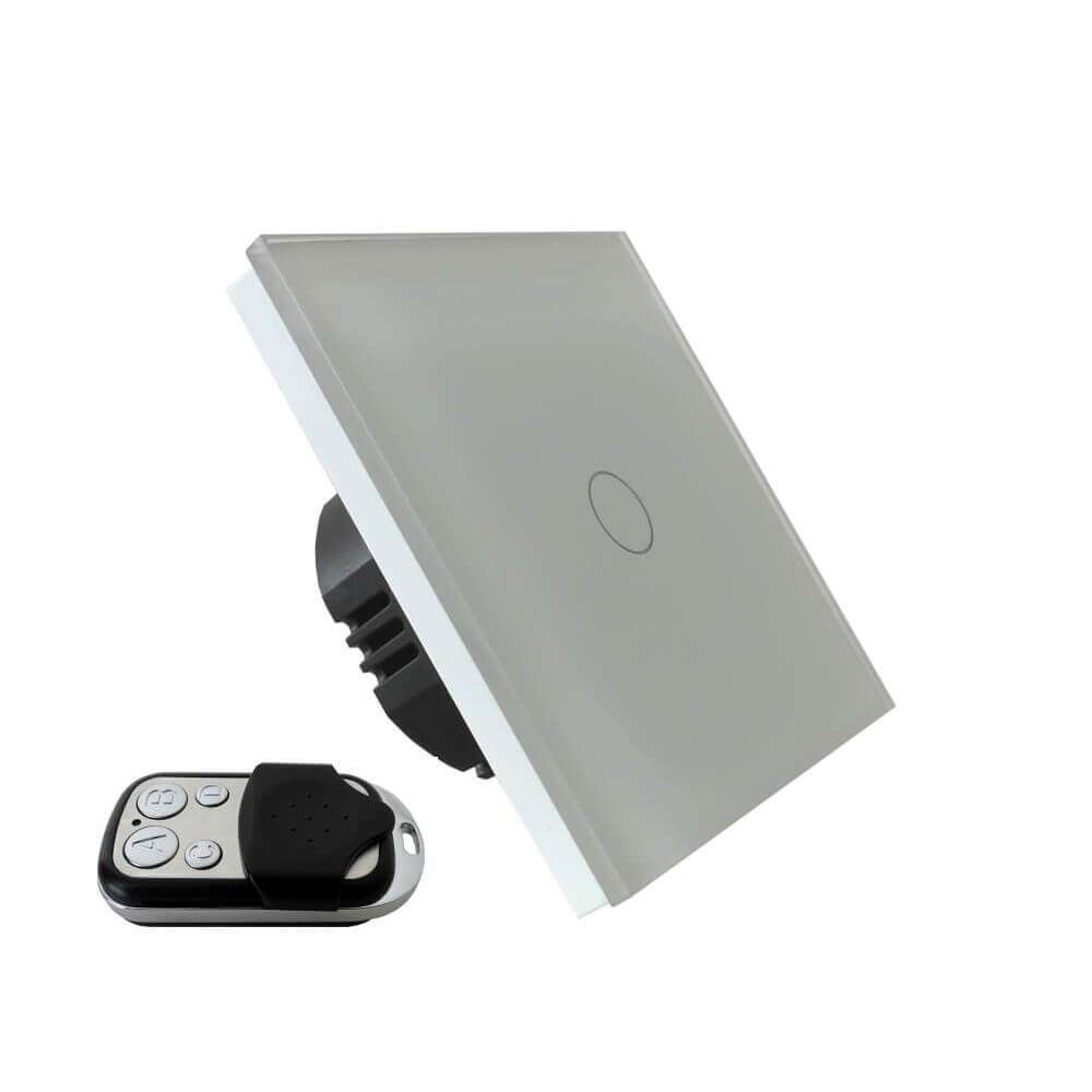 Wyłącznik światła dotykowy jednoobwodowy, 1 przycisk, na jedna puszkę, biały, sterowany pilotem