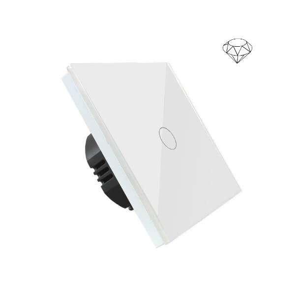 Szklany wyłącznik światła dotykowy jednoobwodowy, jeden przycisk, na jedną puszkę, biały