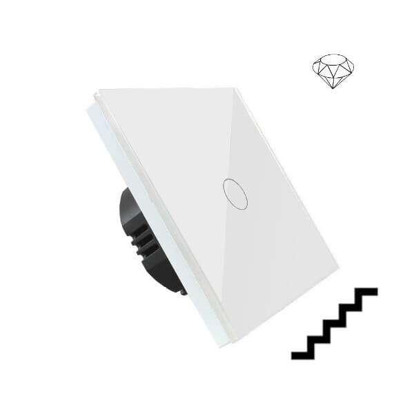 Szklany wyłącznik światła dotykowy jednoobwodowy, dwubiegunowy, krzyżowo-schodowy, jeden przycisk, na jedną puszkę, biały
