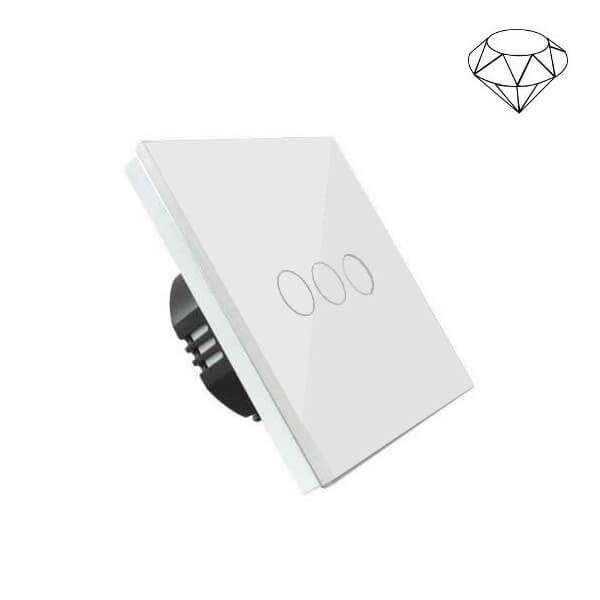 Szklany wyłącznik światła dotykowy jednoobwodowy, trzy przyciski, na jedną puszkę, biały