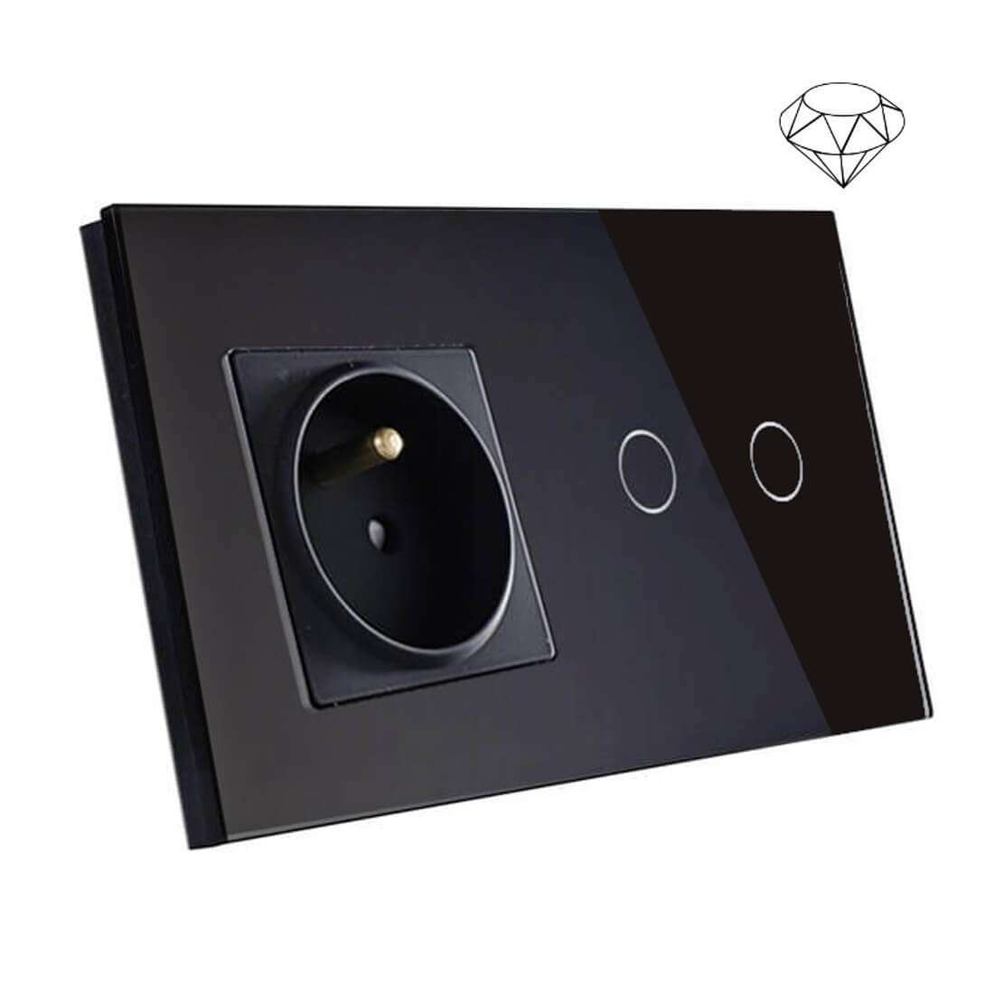 Szklany wyłącznik światła dotykowy łazienkowy podwójny, dwie puszki, czarny