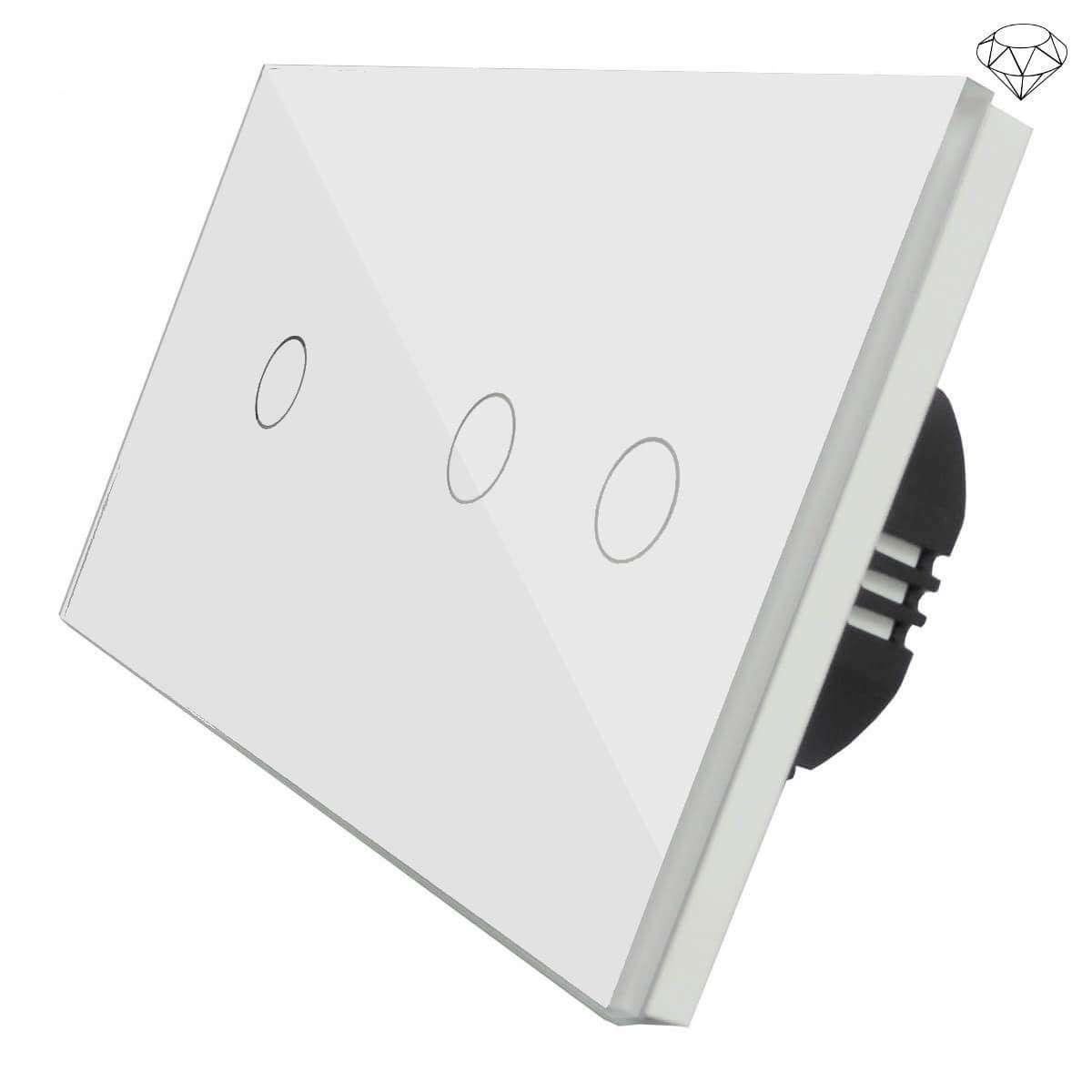 Szklany Wyłącznik światła Dotykowy Dwuobwodowy Schodowy