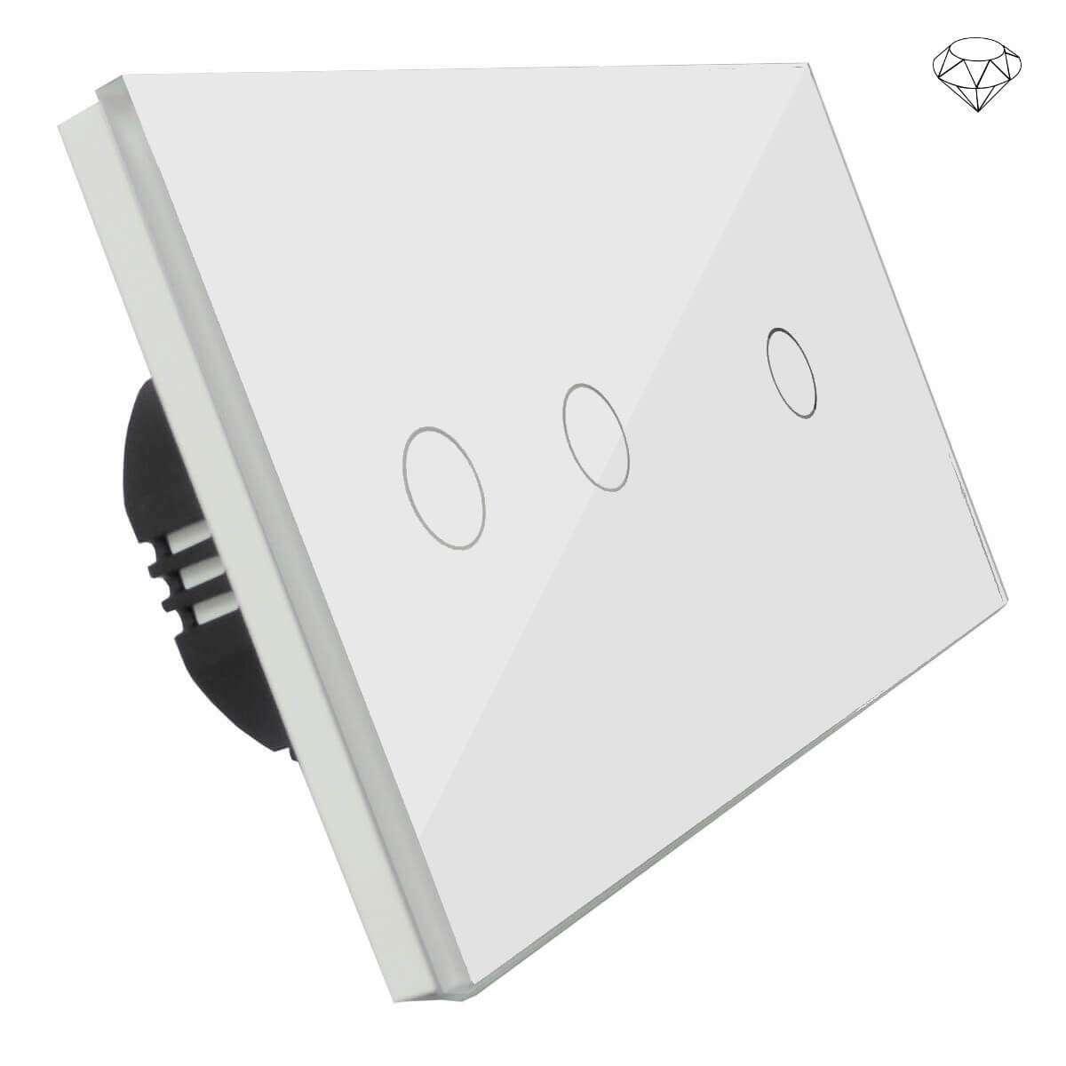 Szklany wyłącznik światła dotykowy dwuobwodowy, trzy przyciski, na dwie puszki, biały