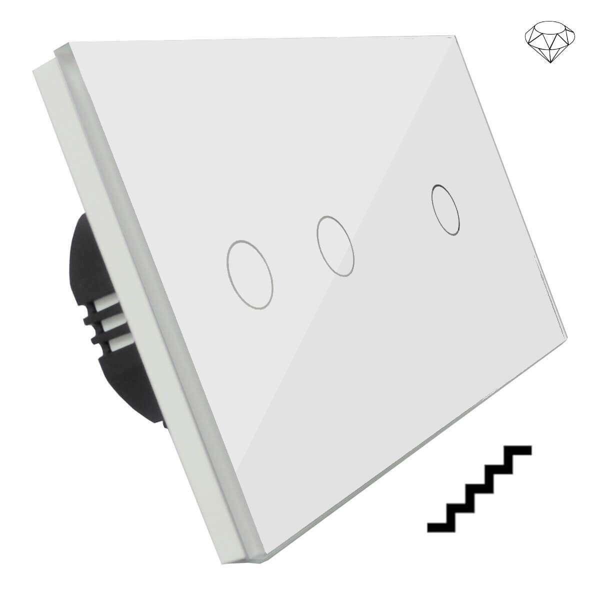 Szklany wyłącznik światła dotykowy dwuobwodowy, schodowy pojedynczy i podwójny, trzy przyciski, na dwie puszki, biały