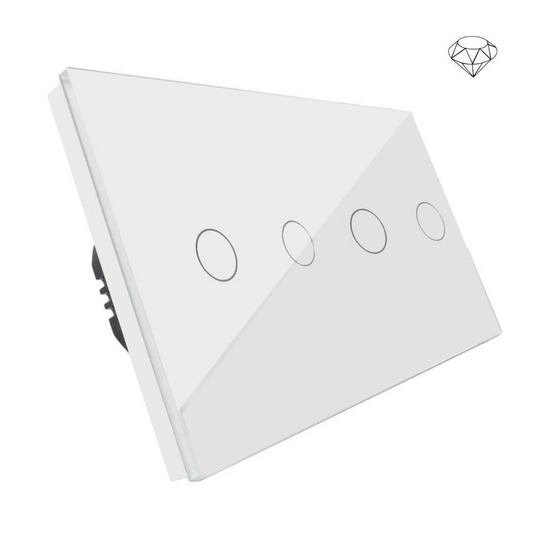 Szklany Wyłącznik światła dotykowy dwuobwodowy, cztery przyciski, na dwie puszki, biały