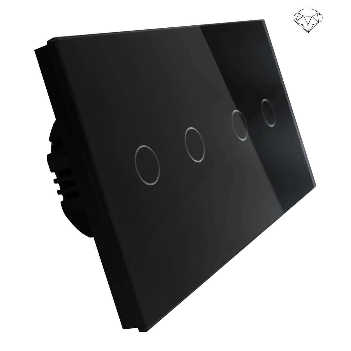 Szklany wyłącznik światła dotykowy dwuobwodowy, cztery przyciski, na dwie puszki, czarny