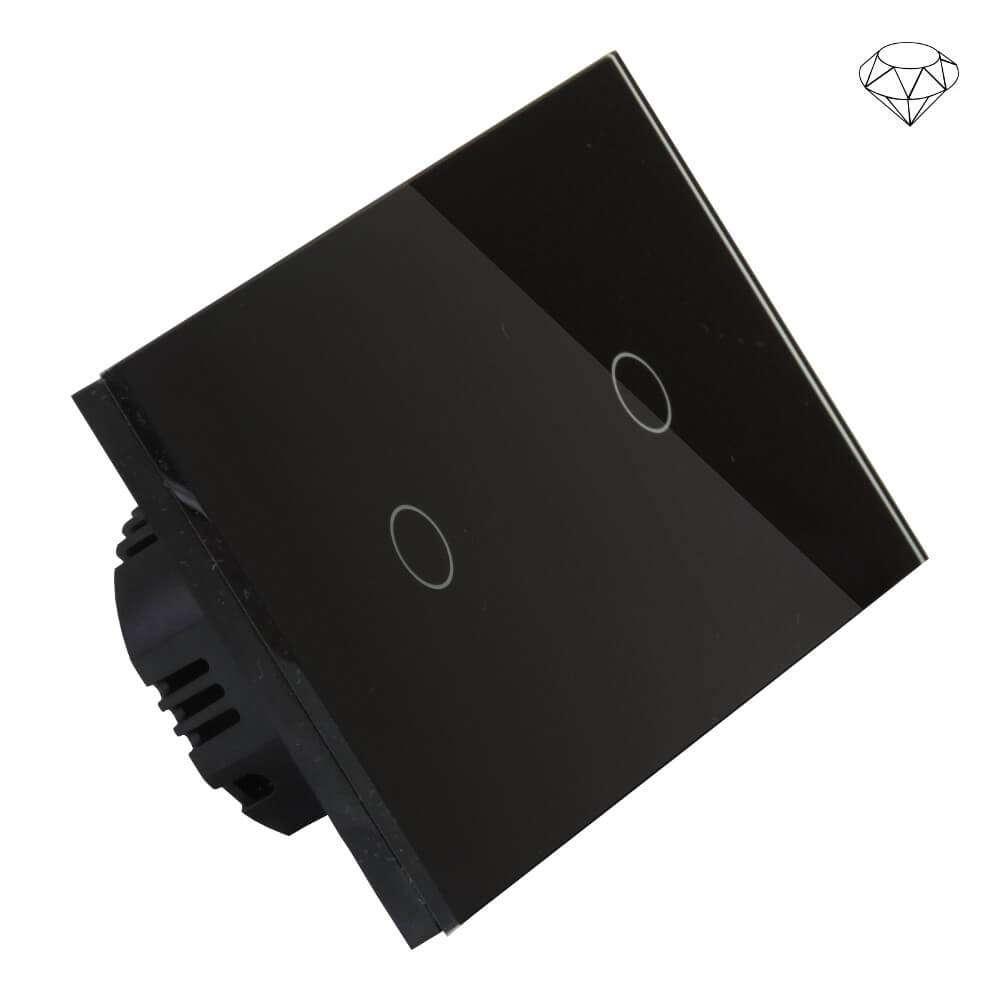 Szklany wyłącznik światła dotykowy dwuobwodowy, dwa przyciski, na dwie puszki, czarny
