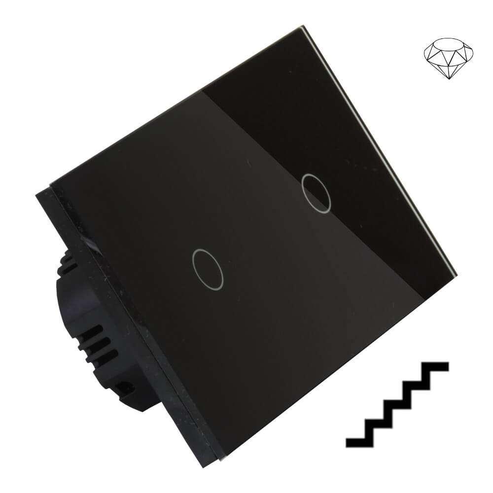 Szklany wyłącznik światła dotykowy dwuobwodowy, schodowy pojedynczy i pojedynczy jednokierunkowy, dwa przyciski, na dwie puszki, czarny